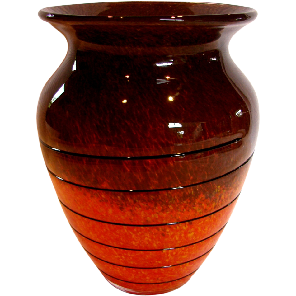 Bohemian Czech Art Glass Vase Orange Yellow Brown w Black Glass Windings c 1930s