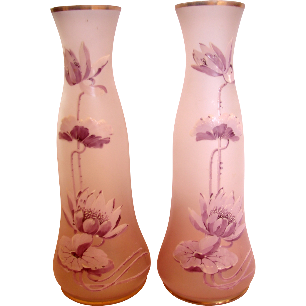 Bohemian Pair Art Glass Vases Enameled Purple White Water Lilies c 1890 - 1910