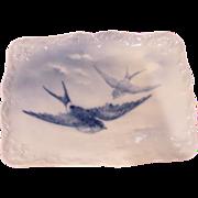 French Limoges Limousin Artist A. Janat Fleur-de-Lis Tray Birds in Flight Blue Underglaze c 1894