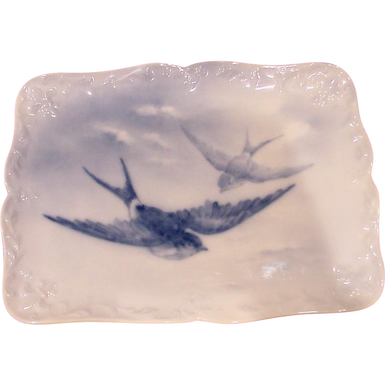 French Limoges Limousin Artist A. Janat Fleur-de-Lis Tray Birds in Flight Blue Underglaze c 1894