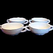 French Haviland Limoges Set 4 Cream Soup Bowls Ranson All-White c 1893 - 1930