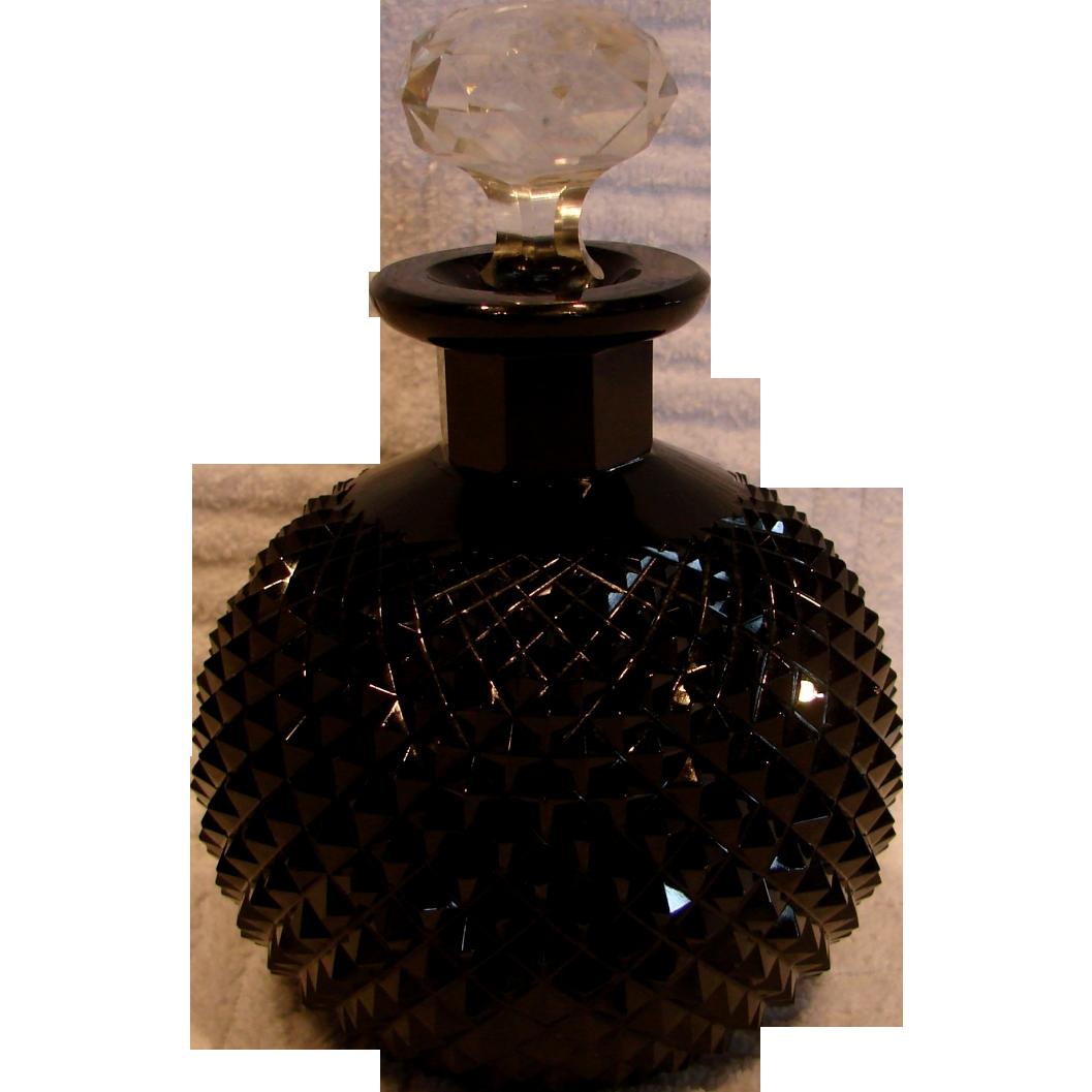 Bohemian Czech Cut Diamond Point Black Art Glass Scent Perfume Bottle (Cologne) Signed c 1930