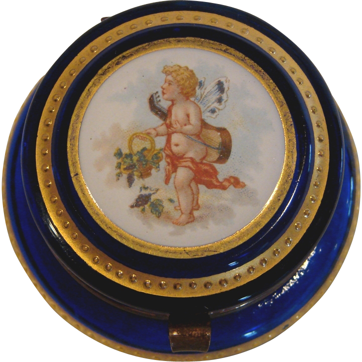 French Small Patch Art Glass Box Cobalt Blue Hand Enameled Cherub Lid c 1890