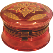 French Art Glass Pill Box Cranberry Pale Ruby Red Gold Enameling c 1890