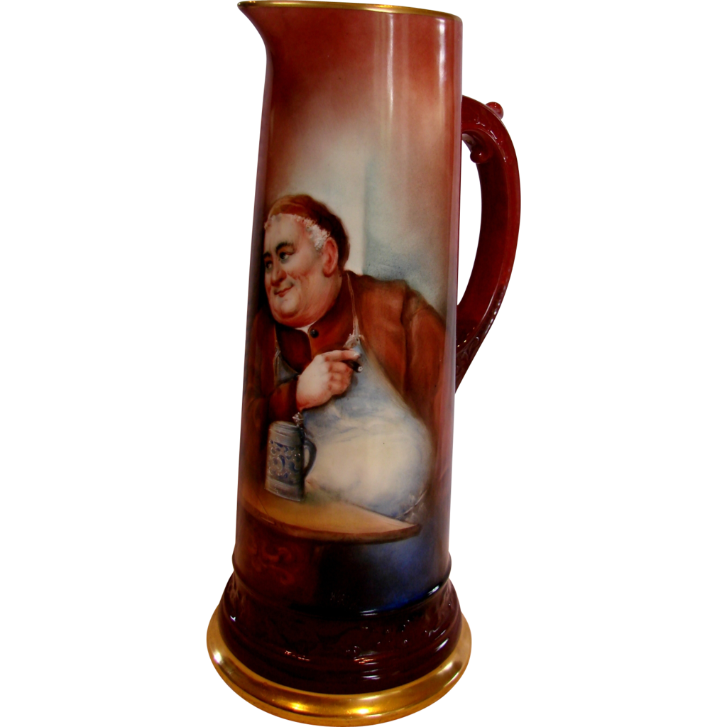 "French Limoges 14 ¾"" Tankard Hand Painted Artist Signed Monk or Friar c 1900 - 1932"