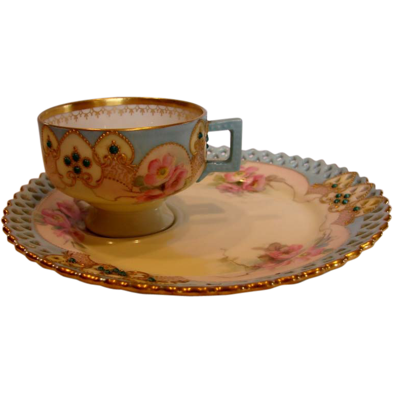 German Meissen Listed American Artist Ida Failing Tea Toast Pedestal Cup Saucer Pink Roses w Cabochon Turquoise Jewels c 1903