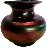 Bohemian Czech Iridescent Black Art Glass Vase c 1930