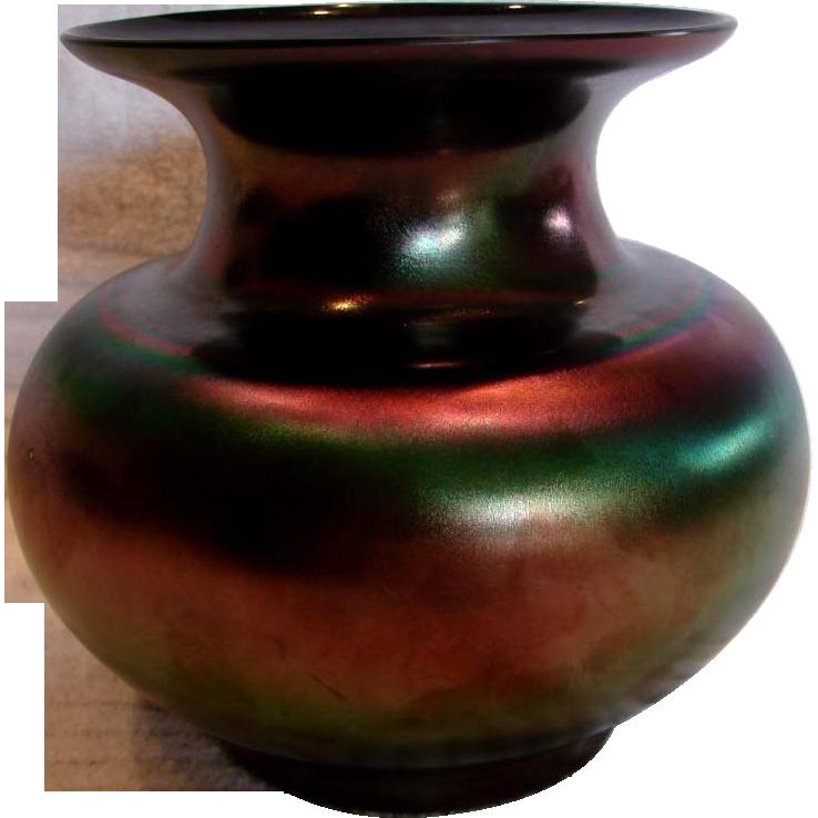 Bohemian Czech Iridescent Black Art Glass Vase c 1930