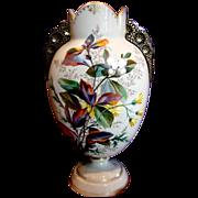 "Bohemian Czech Harrach Large 15"" Gray-Beige Opal Art Glass Vase w Exquisite Enameled Leaves Flowers Applied Black Glass Handles c 1878"