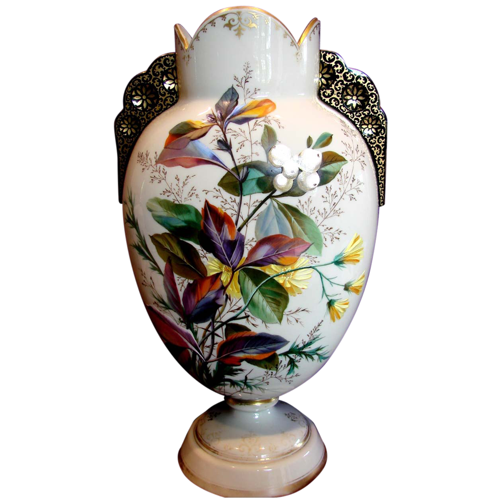 "Bohemian Czech Harrach Large 15"" Gray-Beige Opal Art Glass Vase w Exquisite Enameled Leaves Flowers Applied Black Glass Handles c 1878"