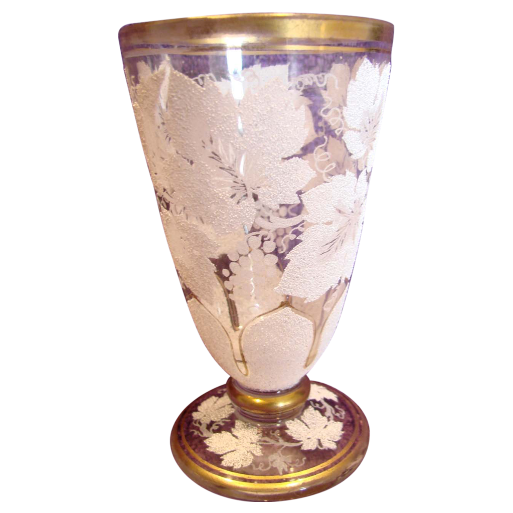 Bohemian Art Glass Clear Glass Tumbler Goblet w White Coralene Grape Leaves c 1890