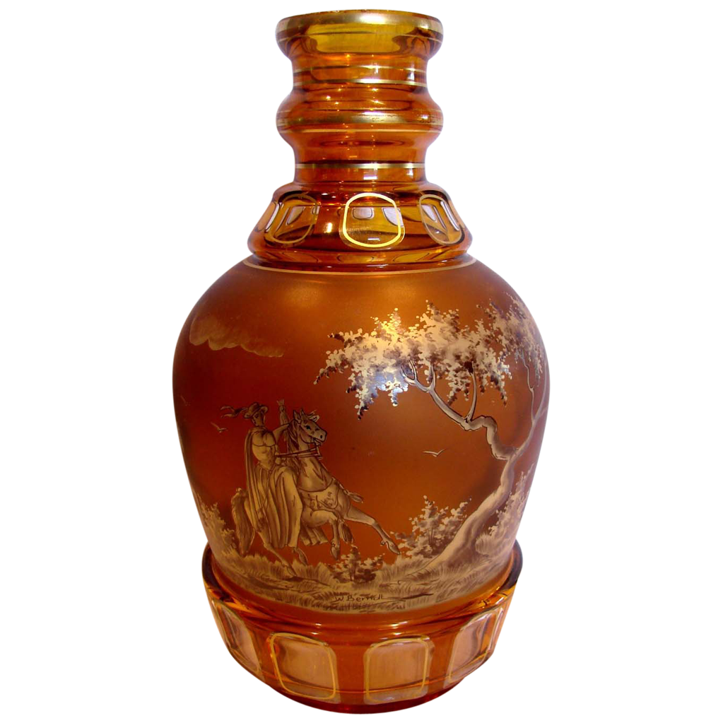 "Bohemian Moser Art Glass 12"" Vase Amber Cut to Clear Pen Sketch Falconers on Horses Signed by Glass Painter Wolfgang Berndt c 1920"