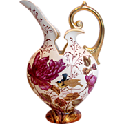 "German Earthenware 12"" Ewer Vase Hand Painted Purple Flowers Song Birds c 1861 - 1873"