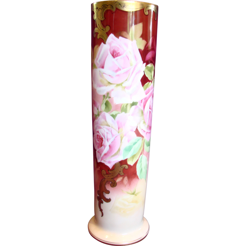 "French Limoges Vase 15.75"" w Huge Pink Roses American Pickard Stouffer Artist Samuel Heap c 1905 - 1906"