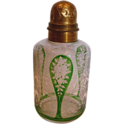 French Saint Louis Art Glass Crystal Scent Perfume Bottle (Powder or Cologne) Finely Etched Flower Green Cut to Clear Bronze Top c 1870