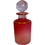 French Baccarat Crystal Art Glass Etched Scent Perfume Bottle (Cologne) Rubena (Rubina) Clear to Red Cranberry c 1890 - 1900