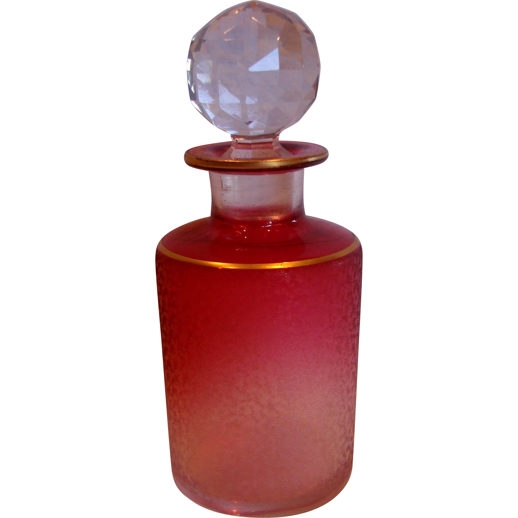French Baccarat Crystal Art Glass Etched Scent Perfume
