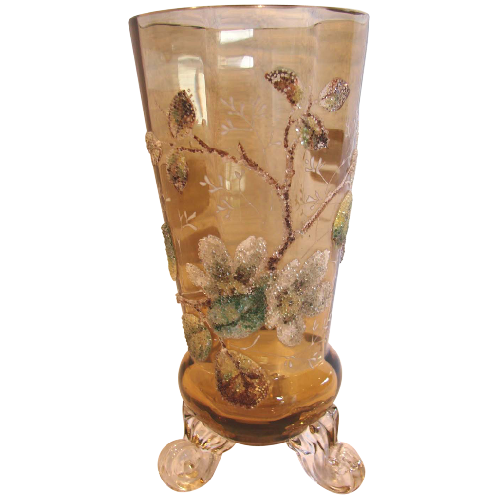 "Bohemian Footed Coralene Amber Art Glass Vase 6"" c 1885"
