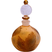 French Art Glass Scent Perfume Bottle (Cologne) Intaglio Cut Autumn Leaves c 1910