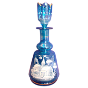 French Blue Art Glass Scent Perfume Bottle Cologne White Enameled Village Scene w Crenellated Stopper c 1885