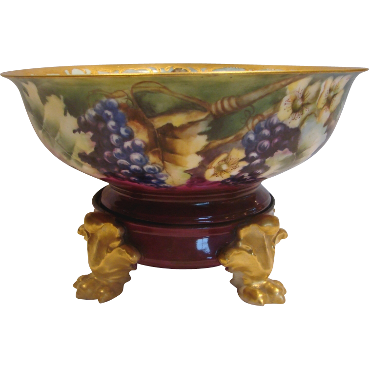 French Limoges Eggnog Punch Bowl on Paw Footed Stand Grapes & Flowers Artist Painted Signed c 1894 - 1900