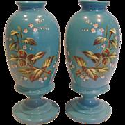 "Bohemian Pair Blue Opaline Bristol Art Glass Vases 10"" Hand Enameled Goose or Snow Berries c 1890"