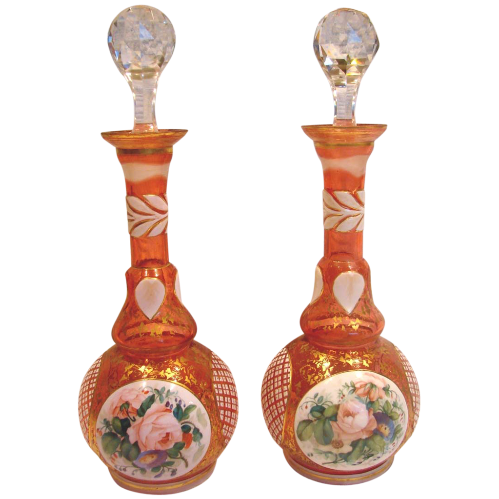 Bohemian Czech Harrach Pair Art Glass Decanter Bottles White Cut to Cranberry or Pale Ruby Red Hand Painted Roses Flowers c 1860 - 1870