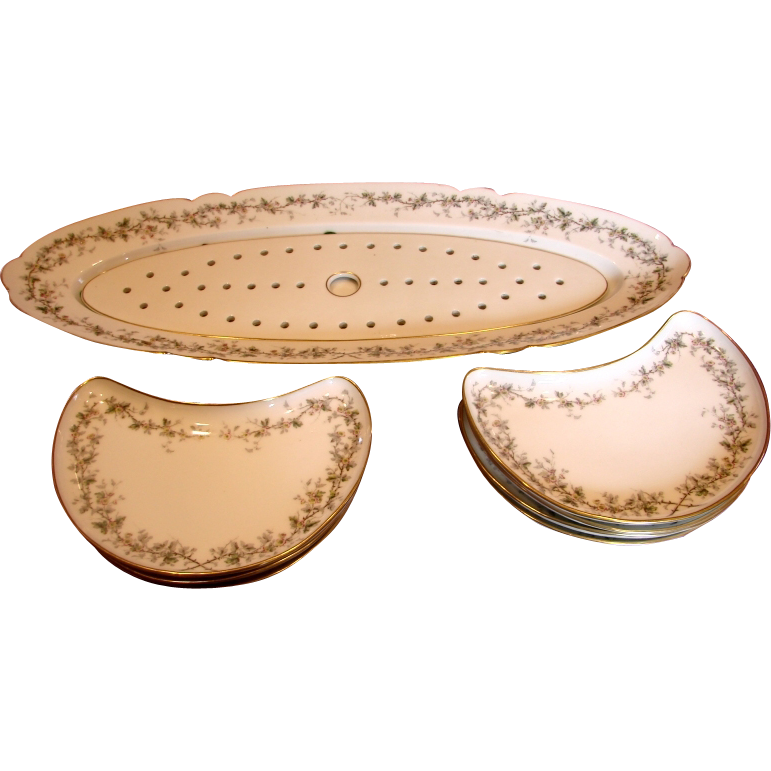 French Paris Fish Set Platter w Reticulated Insert & 7 Crescent Shaped Plates Wild Roses c 1880