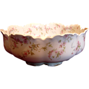 French Haviland Limoges Footed Boule Shaped Salad Bowl Pink Flowers Blue Ribbons Schleiger 481 c 1894 to 1930