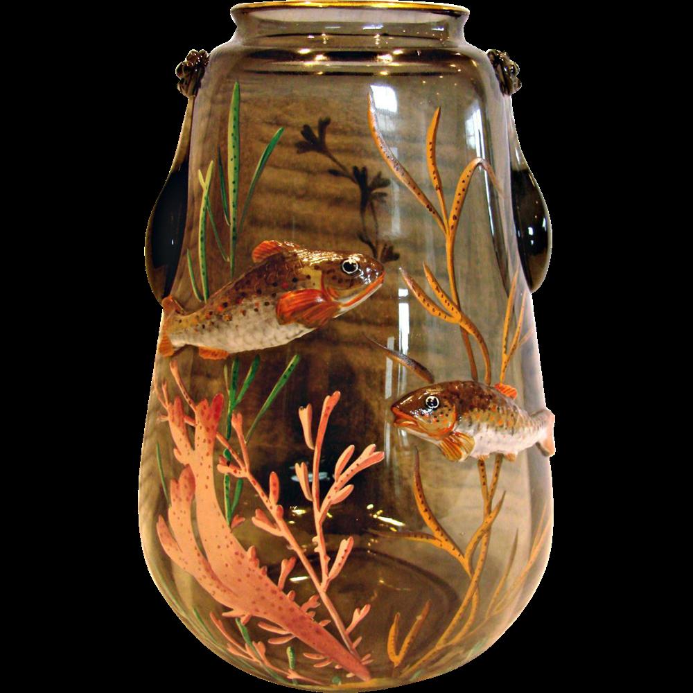 Bohemian Moser Signed Art Glass Vase w Applied Fish & Enameled Seaweed c 1890 - 1910
