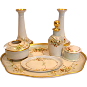 French Limoges Bavarian Austrian Dresser Set Artist Painted Yellow Roses c 1905 - 1930