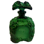 Bohemian Schlevogt Ingrid Green Art Glass Scent Perfume Bottle (Cologne) w Roses c 1935