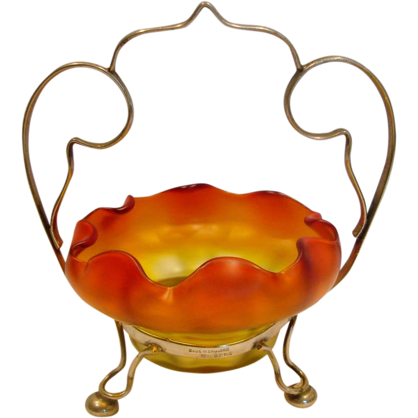English Satin Amberina Art Glass Bowl on Silver Plate Stand Red to Amber c 1895