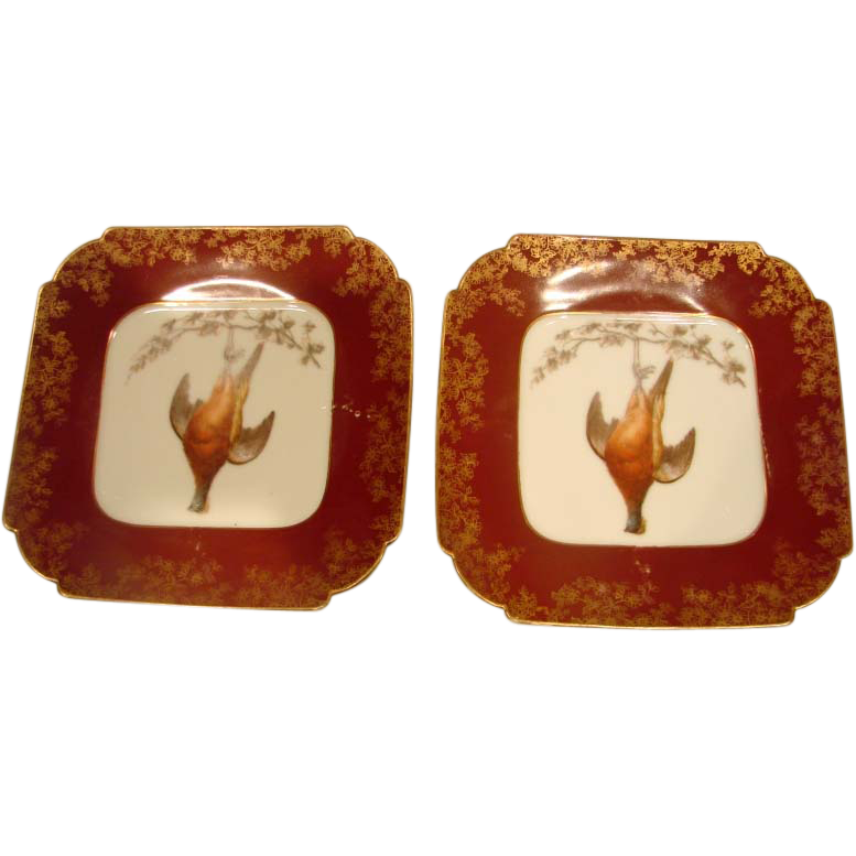 French Haviland Limoges Pair Dead Game Bird Plates w Red Glaze c 1882 - 1890