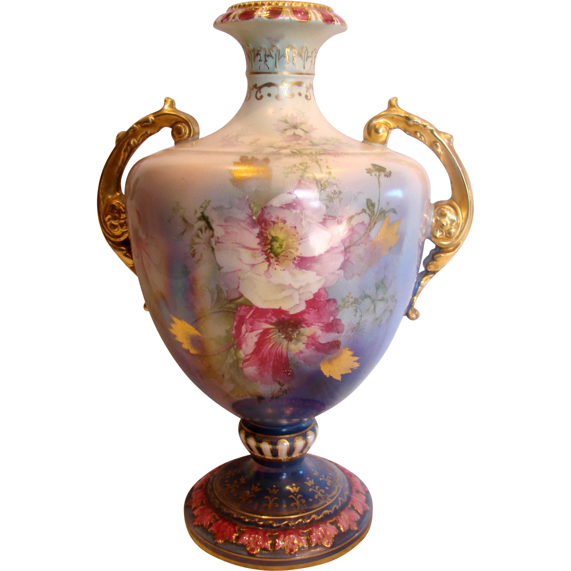 "German Royal Bonn Mehlem 10.5"" Vase Hand Painted Pink Poppies Unique Blue Lustre Glaze c 1900"