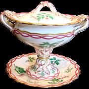 English Coalport Pedestal Sauce Tureen w Under Plate Pink Trim Hand Painted Flowers c 1843 - 1870