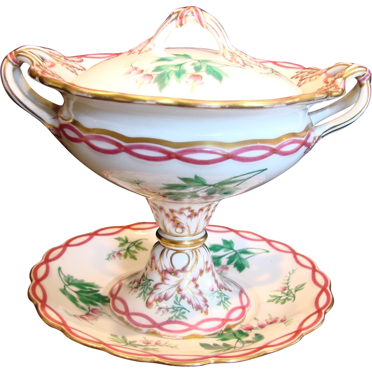English Coalport Pedestal Sauce Tureen w Under Plate Pink Trim Hand Painted Flowers c 1843 - 1870