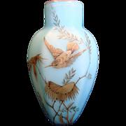 English Satin Blue Cased Art Glass Six-Sided Vase w Hand Painted Bird c 1885
