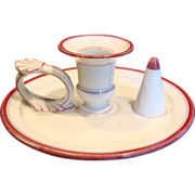 French Old Paris Chamberstick Candle w Ring Holder Pink Trim c 1865