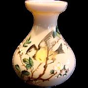 "Bohemian Harrach Miniature 4"" Art Glass Vase w Enameled Bird c 1890"