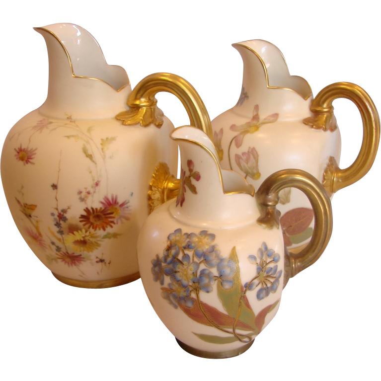 English Royal Worcester Set 3 Graduated Jugs w Different Gold Trim Hand Painted Flowers Butterfly c 1885