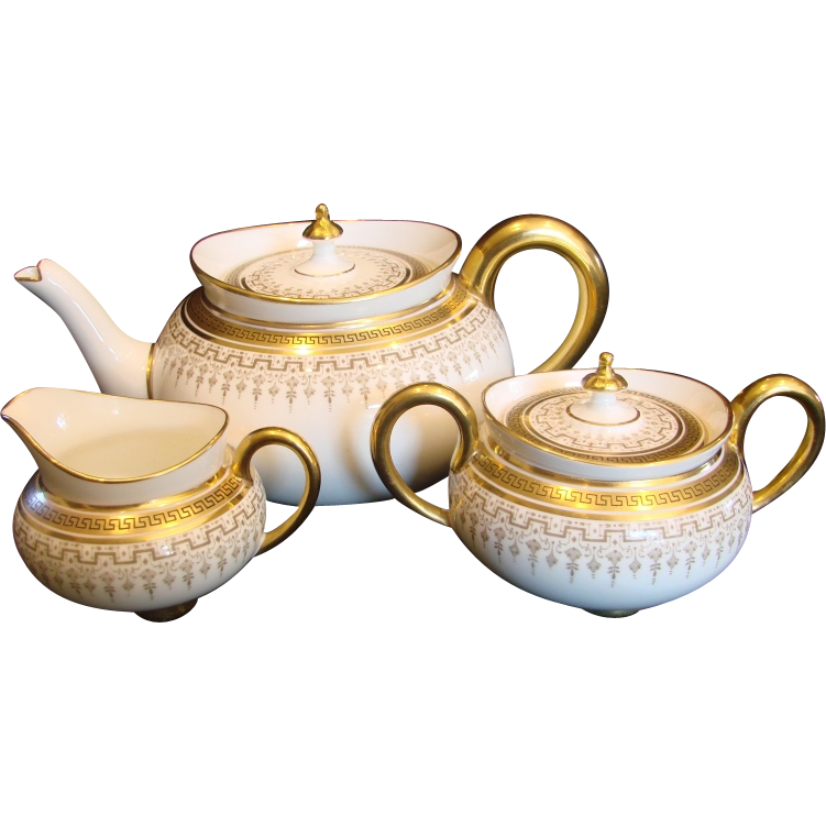English Cauldon Tea Set Teapot Sugar Creamer White & Gold c 1905 - 1920