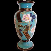 """Bohemian Blue Opaline Art Glass Vase 11"""" Hand Enameled Inset Scene of Setting Sun Lighthouse c 1890"""