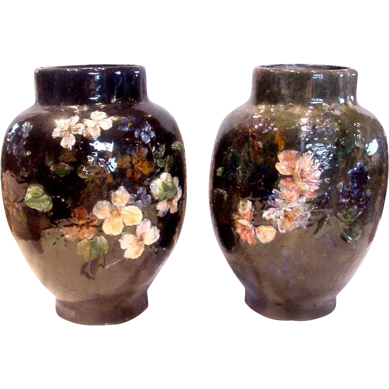 French Haviland Limoges Pair Large Barbotine Faience Terra Cotta Vases Flowers in Relief Signed Auteuil Artist Maurice Bocquet c 1876 to 1882