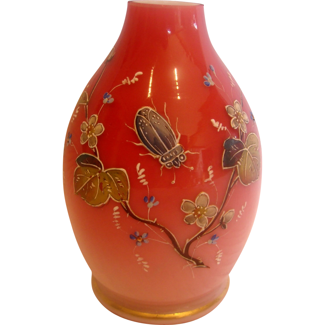 English Webb Pink Cased Art Glass Vase w Hand Enameled Beetle c 1890
