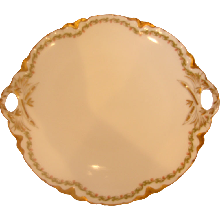French Haviland Limoges Cake Plate Serving Platter Clover Leaf 98 c 1894 to 1930