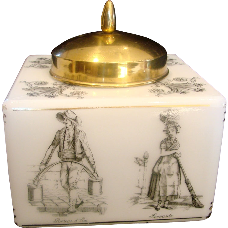 French White Art Glass Tobacco Humidor or Cookie Jar w Street Workers on Sides & Brass Lid c 1900