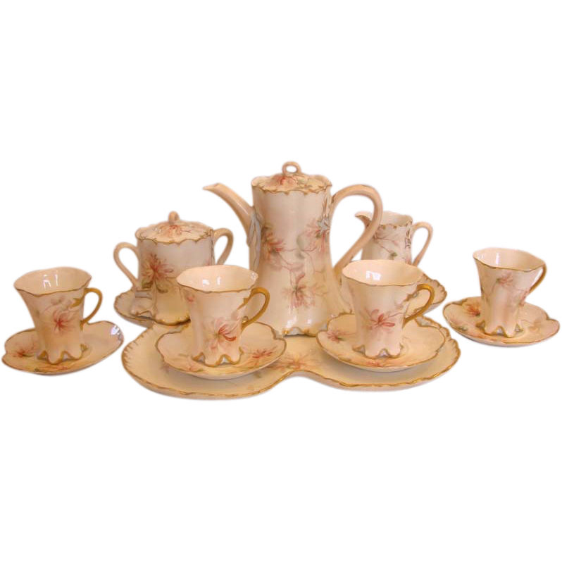 French Limoges Haviland Hand Painted Tea Set on Tray Pink Dahlias Flying Bees c 1890-1896