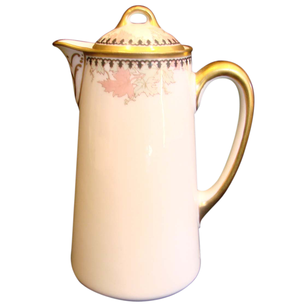 French Haviland Limoges Individual Chocolate Pot Maple Leaf Pattern c 1893 - 1930