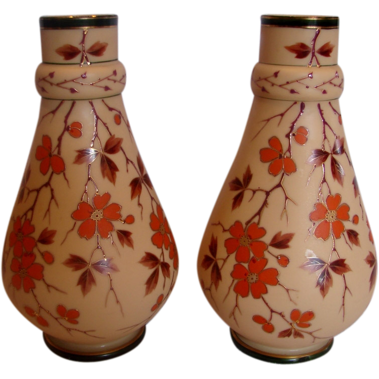 "Bohemian Poschinger Pair 10"" Brown Art Glass Vases Hand Enameled Orange Blossoms Signed c 1890"